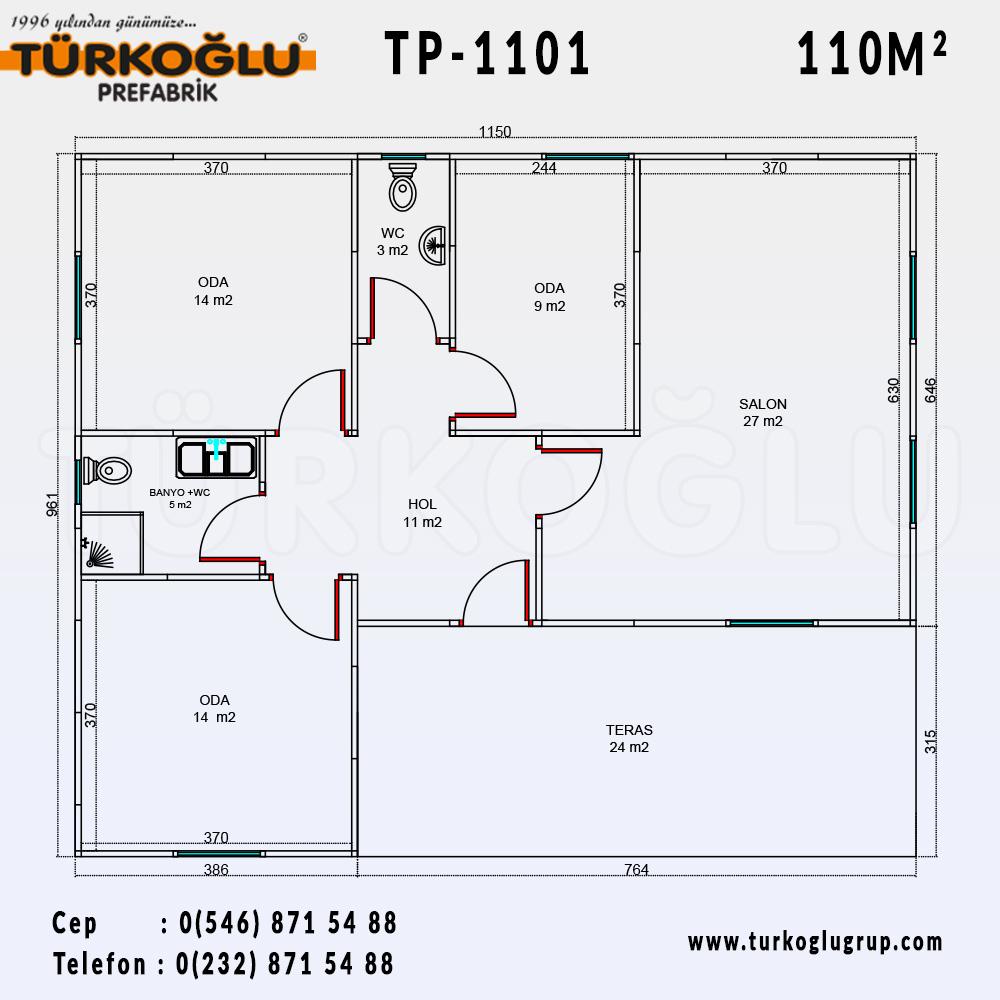 110 Metre Karelik Prefabrik Ev