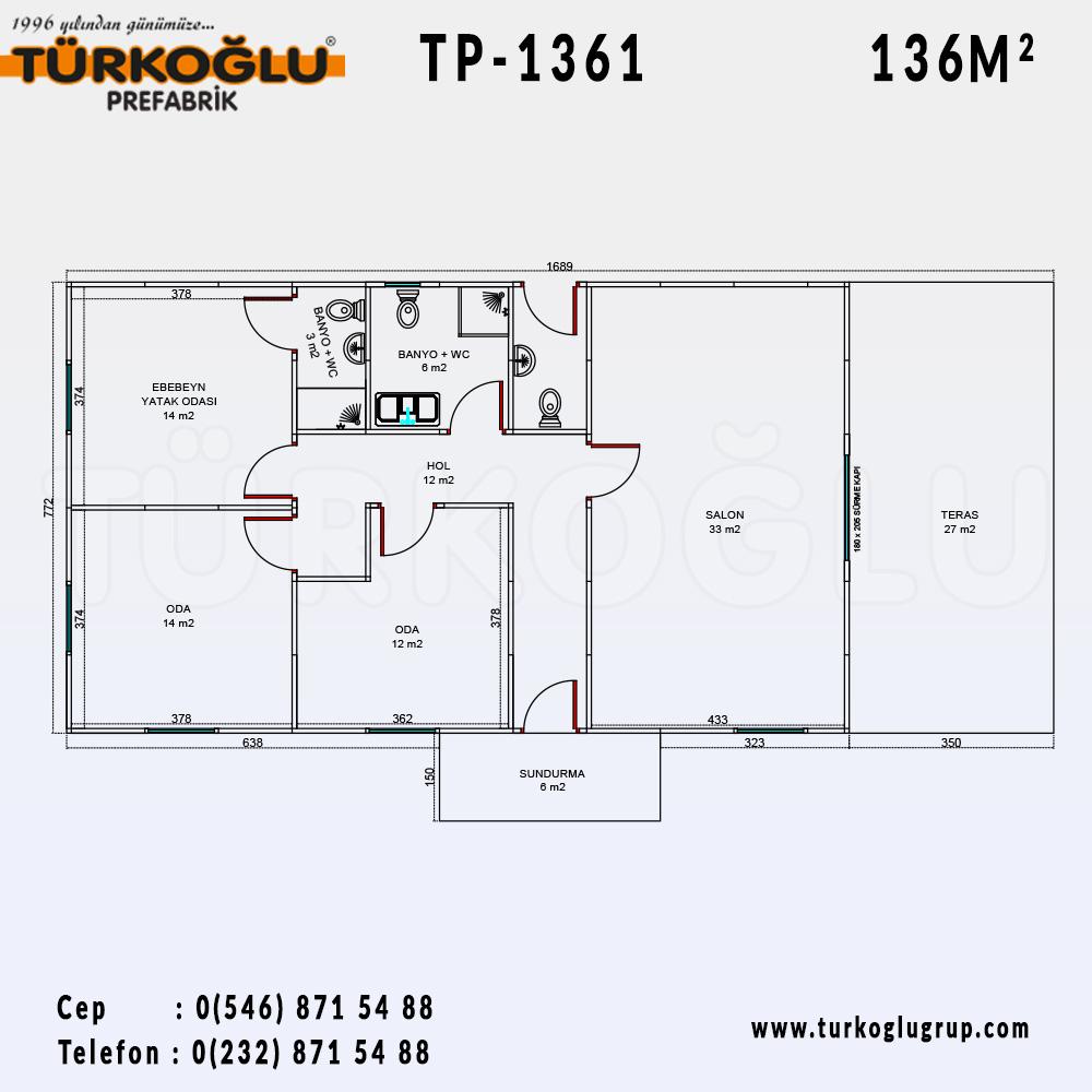 136 Metre Karelik Prefabrik Ev
