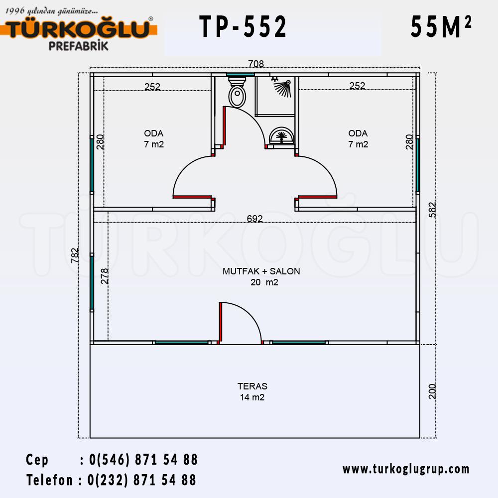 55 Metre Karelik Prefabrik Ev