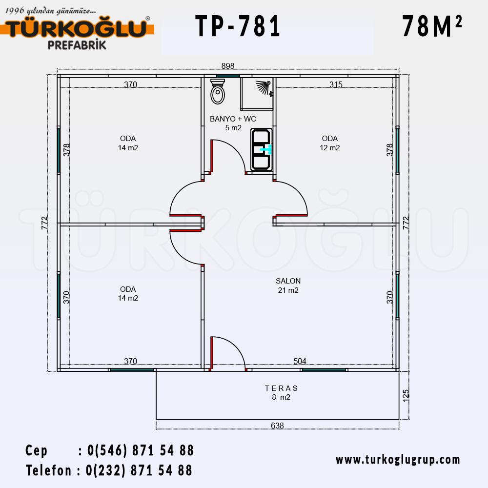 78 Metre Karelik Prefabrik Ev