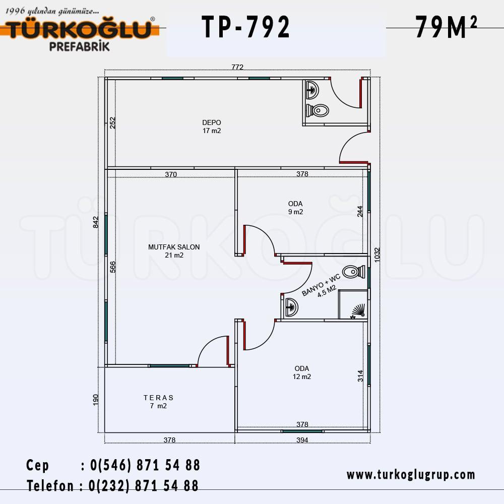 79 Metre Karelik Prefabrik Ev