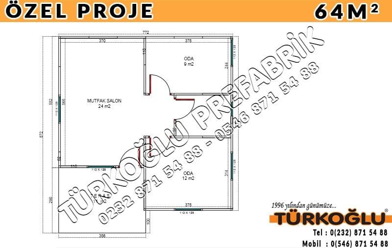 64 M2 Özel Prefabrik Proje Planları