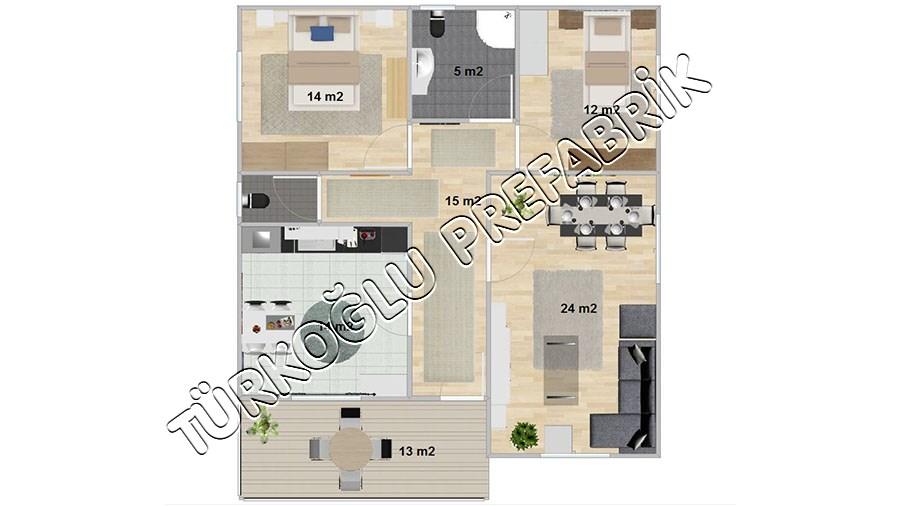 105 M2 Özel Prefabrik Proje Planları