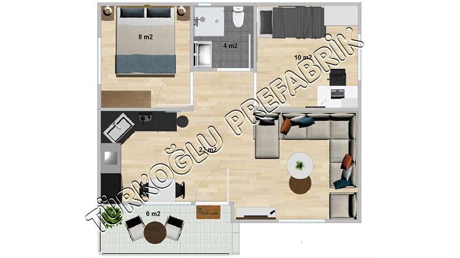 54 M2 Özel Prefabrik Proje Planları
