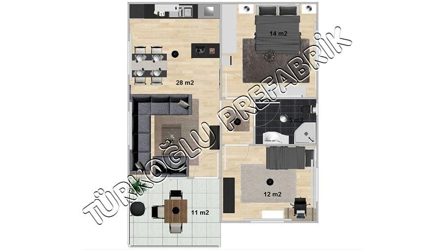 73 M2 Özel Prefabrik Proje Planları