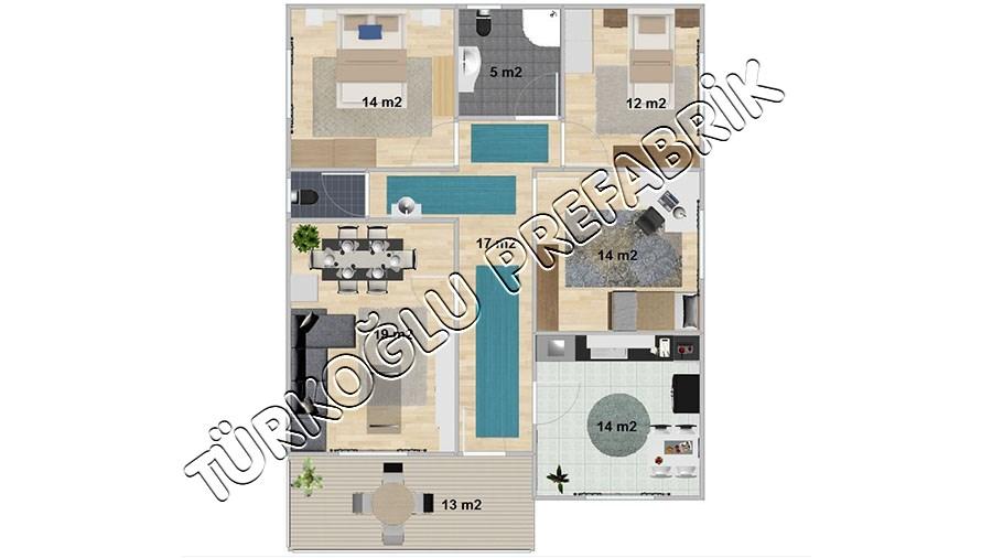 117 M2 Özel Prefabrik Proje Planları