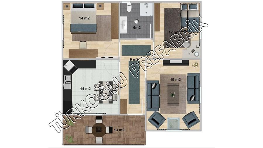 93 M2 Özel Prefabrik Proje Planları