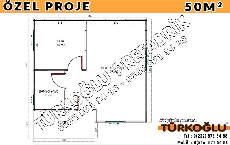 50 M2 Özel Prefabrik Proje Planları